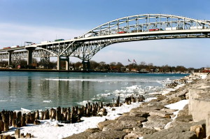 The Bluewater Bridge between Canada and the USA