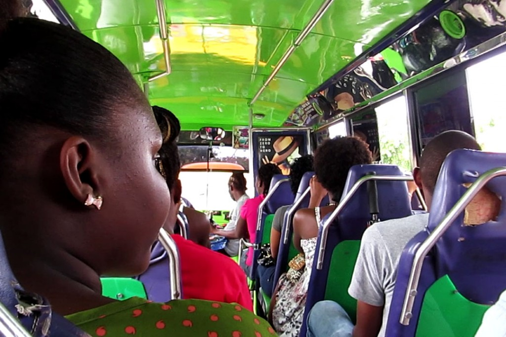 It was a tight squeeze inside the Bajan bus that took us to Bridgetown.
