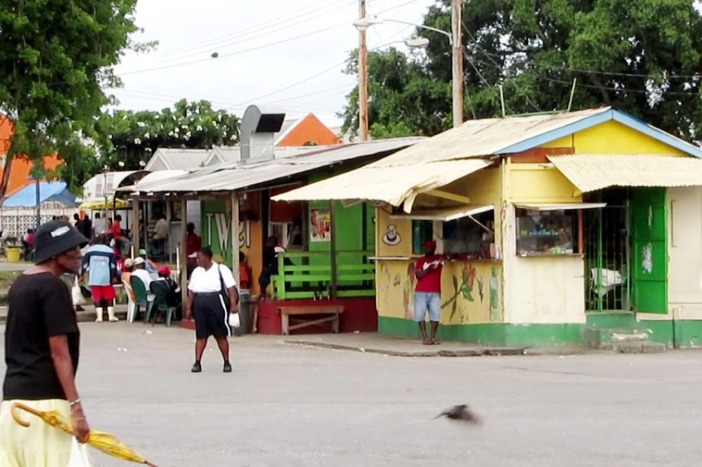 Colourful shacks in Bridgetown.