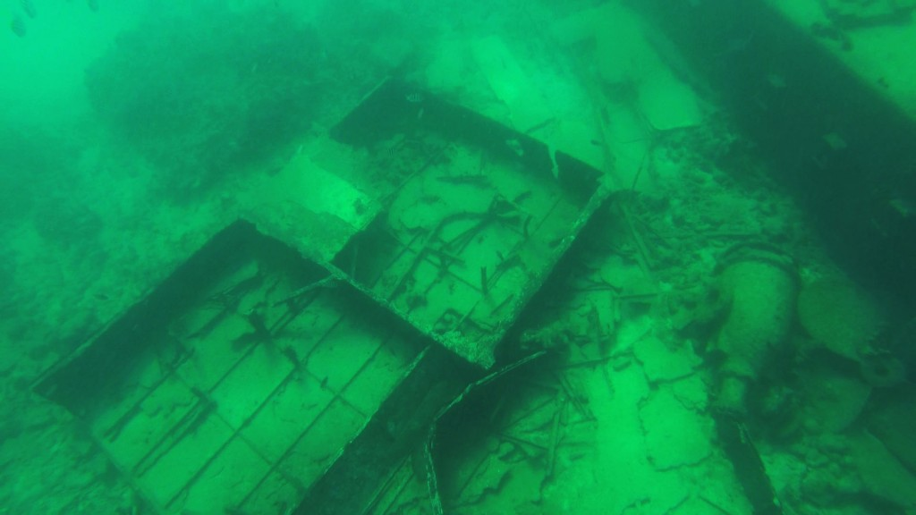 The ship was boxy in shape and appeared to have sunk within the last 50 years or so.