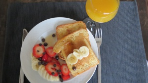 Tasty french toast and fruit salad