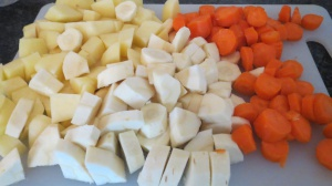 The potatoes, parsnips and carrots.