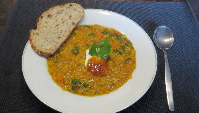 Curried lentil and root vegetable soup