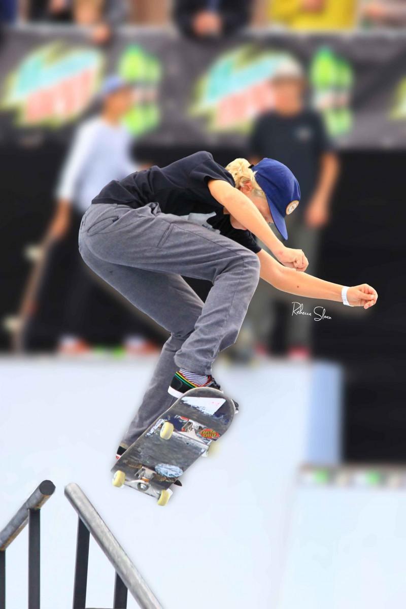 Flying on a skateboard