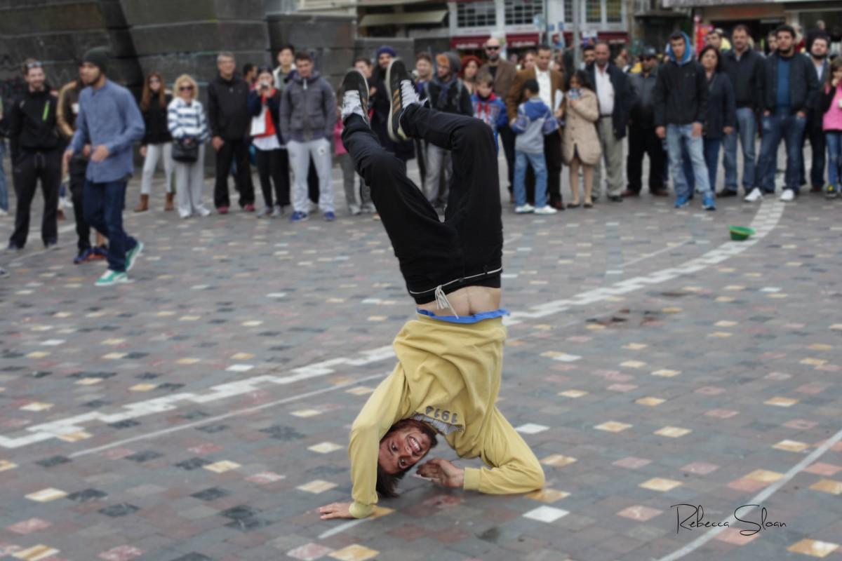 A street dancer performs at Monastiraki Square