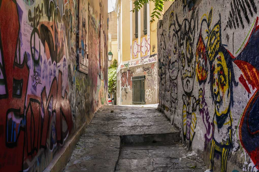 Colourful graffiti in an Athen's alleyway.