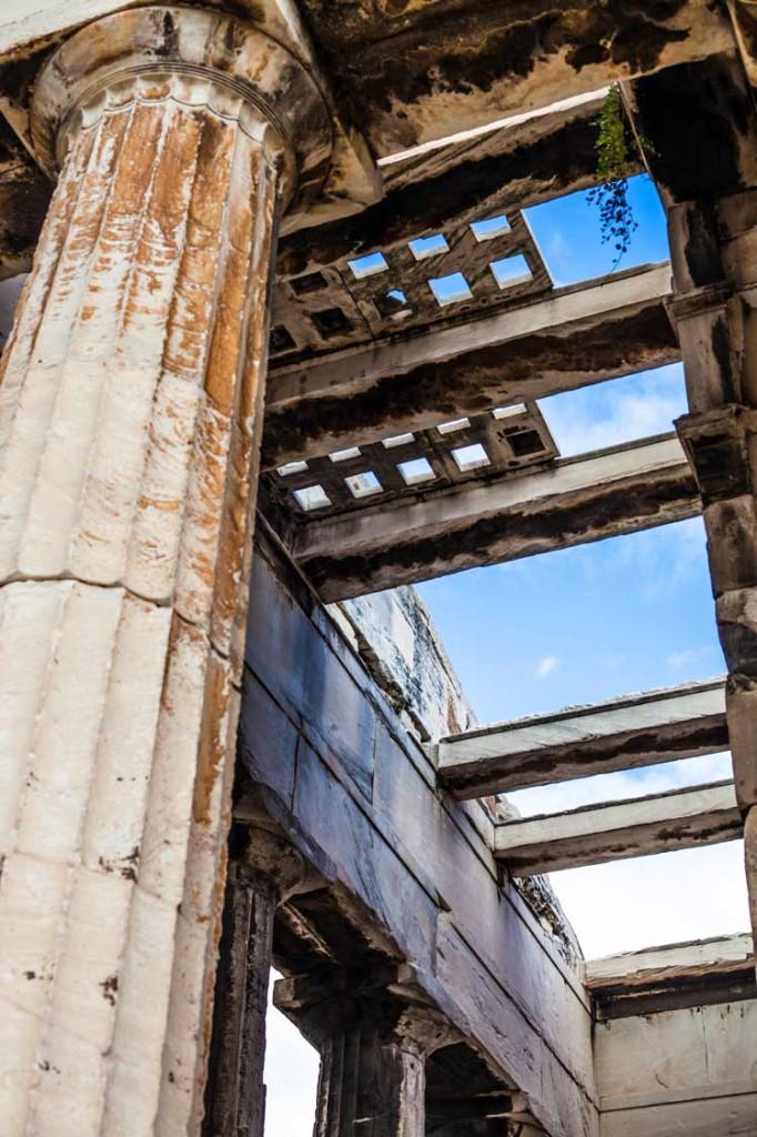 A close-up of the Ancient Agora ruins.
