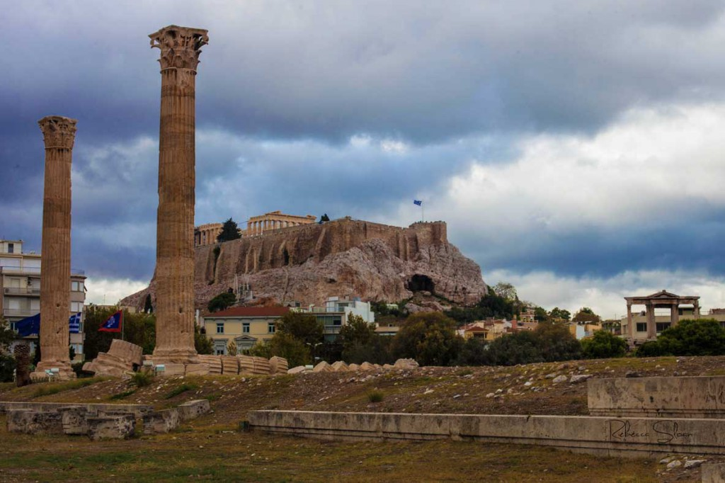 Ruins from the Temple of Zeus and Acropolis in Athens.