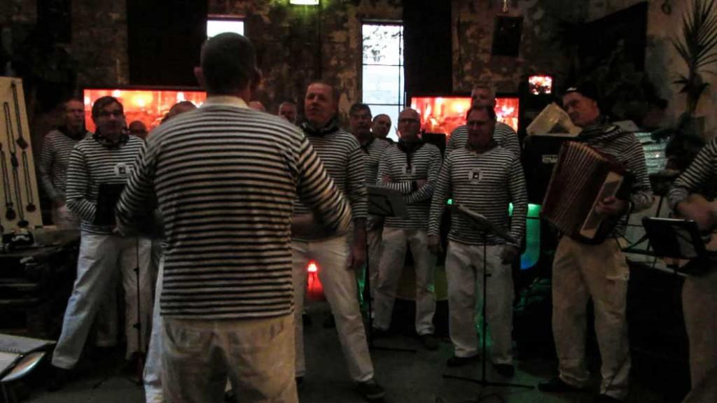 A male choir performs
