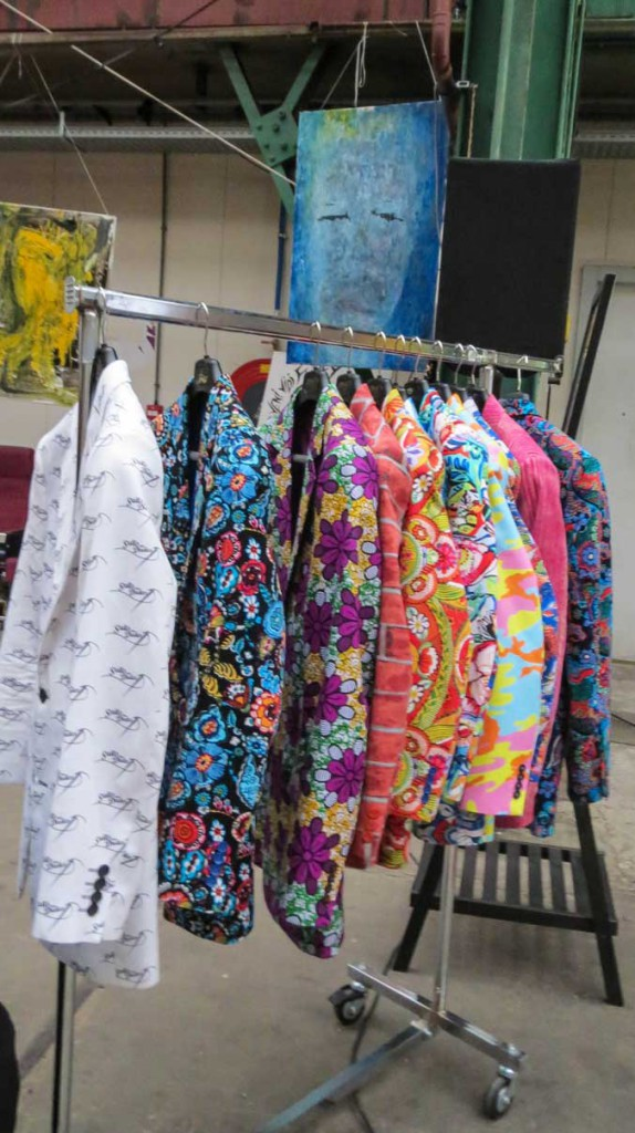 Colourful jackets on sale.