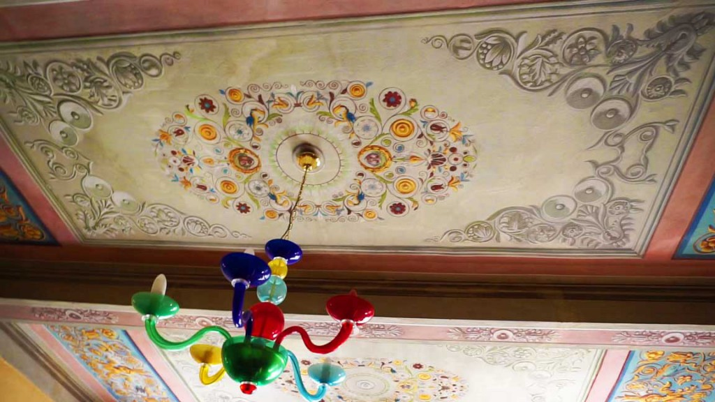 Painting on the ceiling.