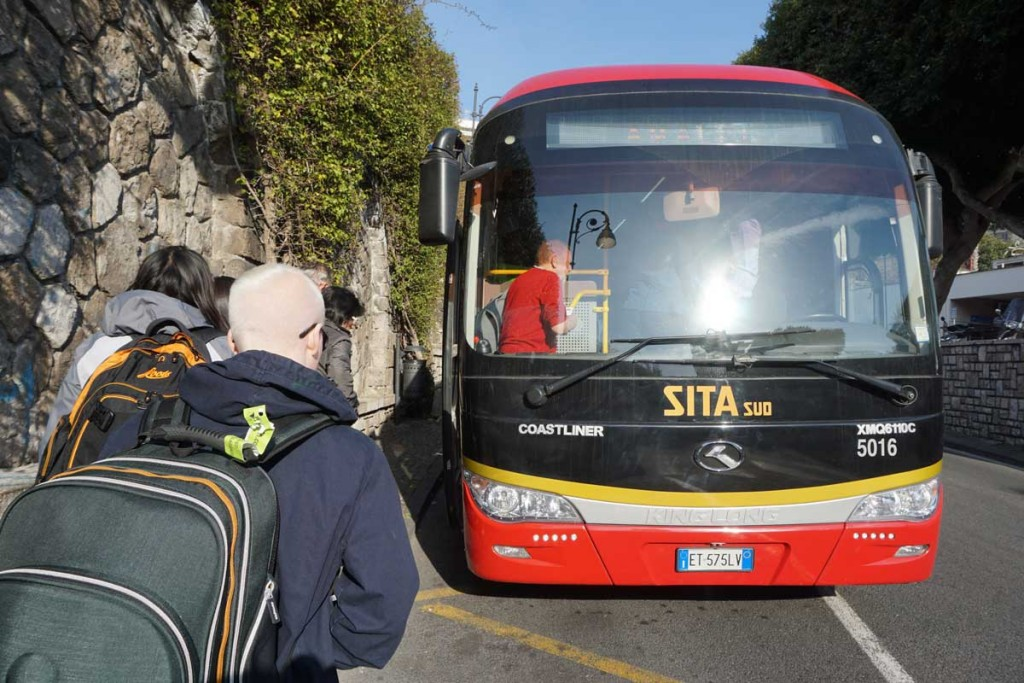 The red SITA bus boarding in Sorrento